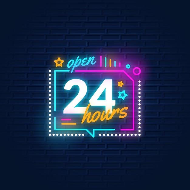 カラーオープン24時間ネオンサイン 無料ベクター