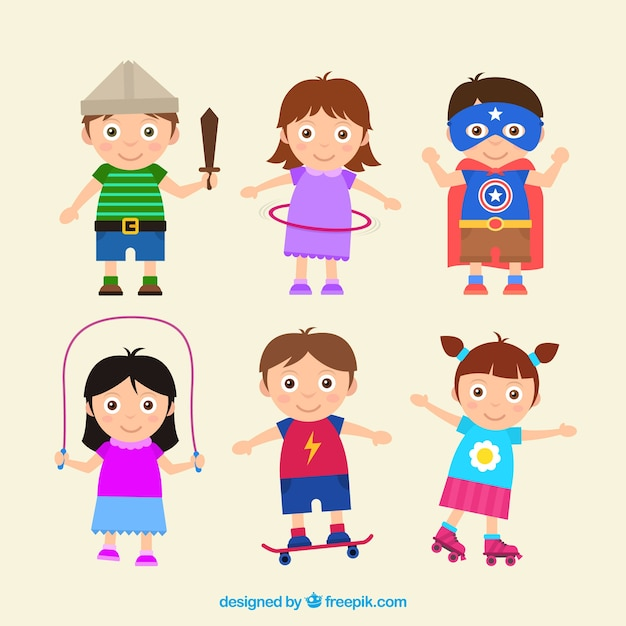 Colored pack of six happy kids playing in flat design Free Vector
