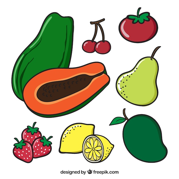 Colored pack with variety of fruits Free Vector