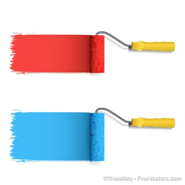 colored paint roller vector vector free