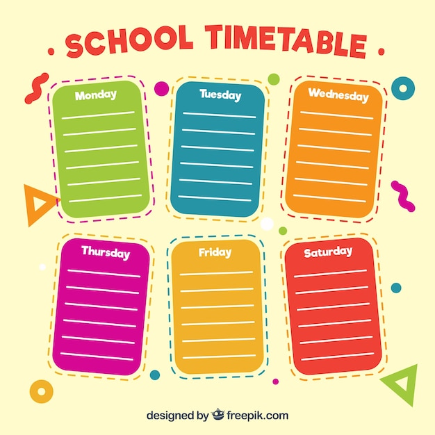 Colored Paper Notes For School Timetable Vector Free