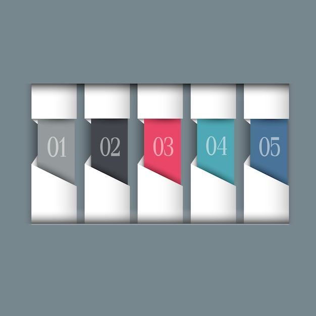 Colored paper numbered banners Premium Vector