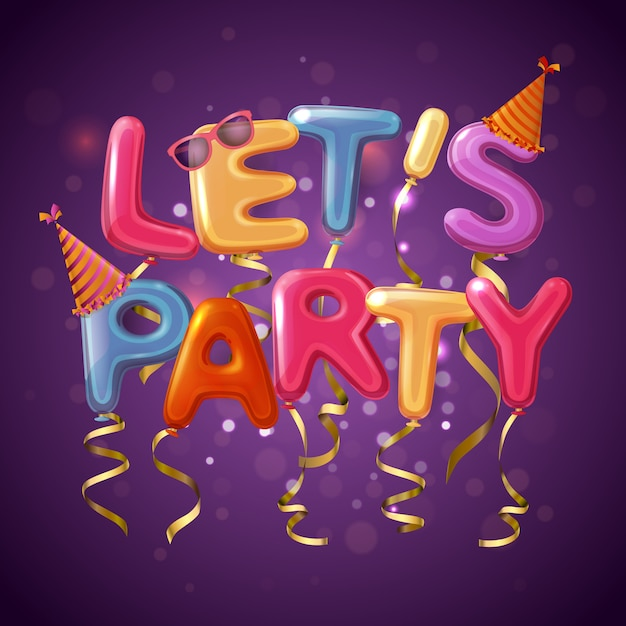 Colored party balloon letters background with let s play headline on purple fond Free Vector