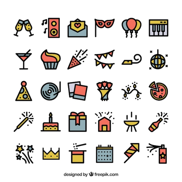 Art Social Calendar : Colored party icons vector free download