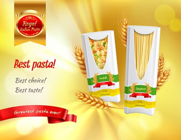 Colored pasta advertisement realistic banner with best pasta best choice best taste headlines  illustration Free Vector