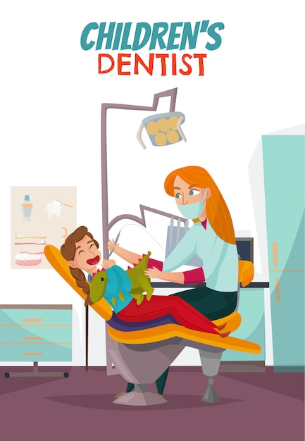 Colored pediatric dentistry composition with children Free Vector