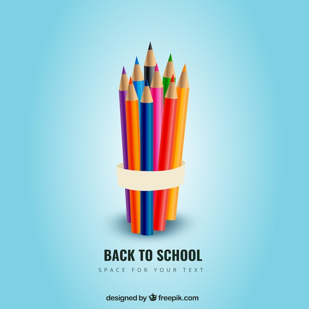 Colored pencils for back to school Free Vector