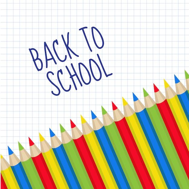Цветные карандаши рамка для текста. обратно в школу. Premium векторы