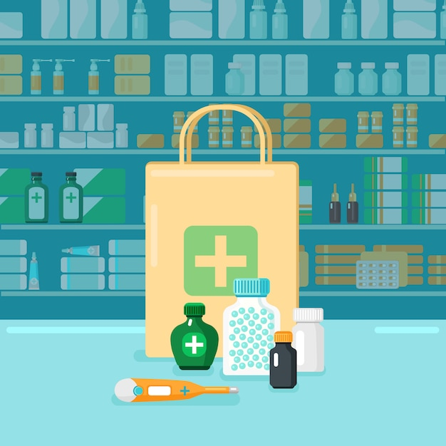 Colored pharmacy concept Free Vector