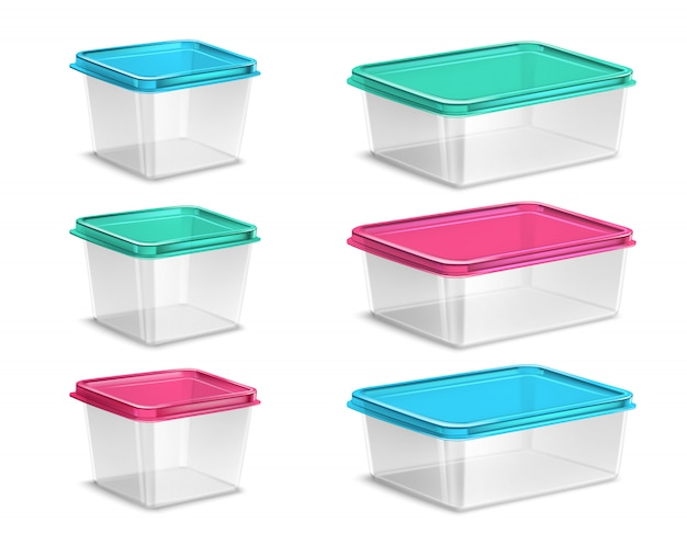 Colored plastic food containers Free Vector