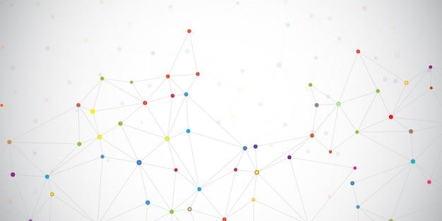 ネットに接続された色付きの点 無料ベクター