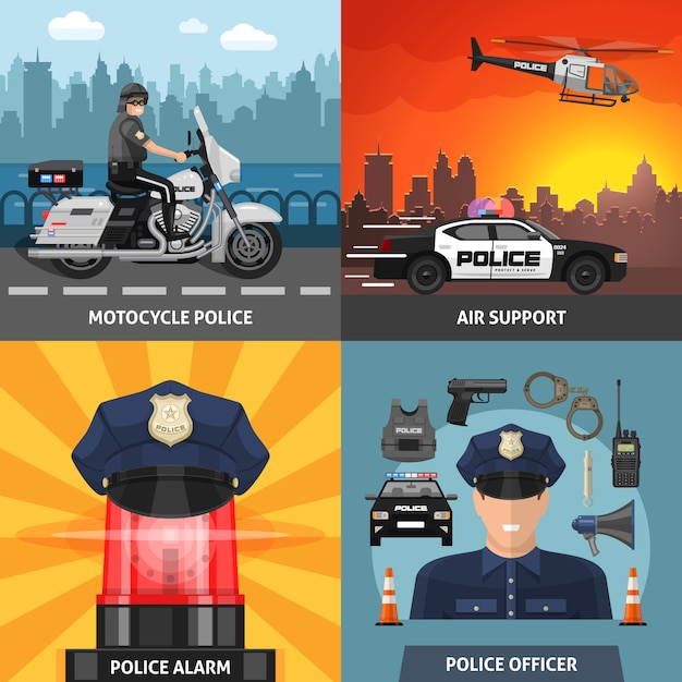 Colored police icon set Free Vector