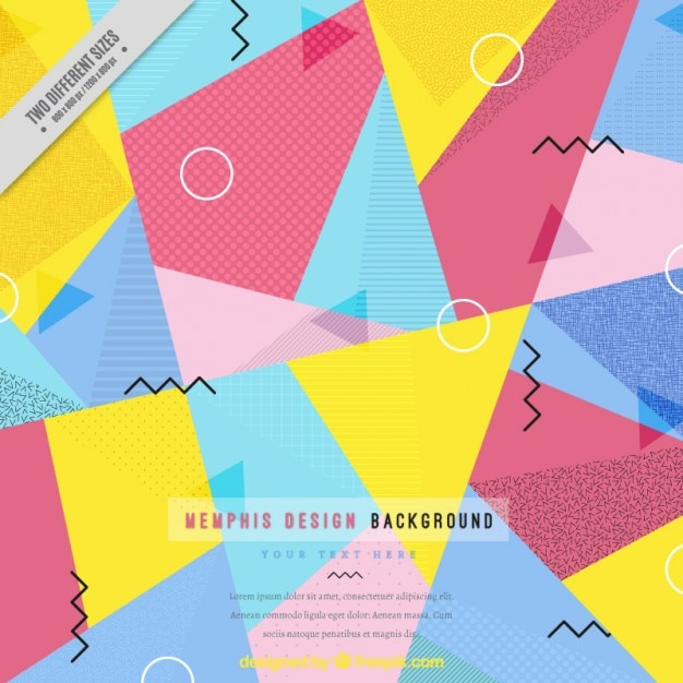 Colored polygonal memphis background Free Vector