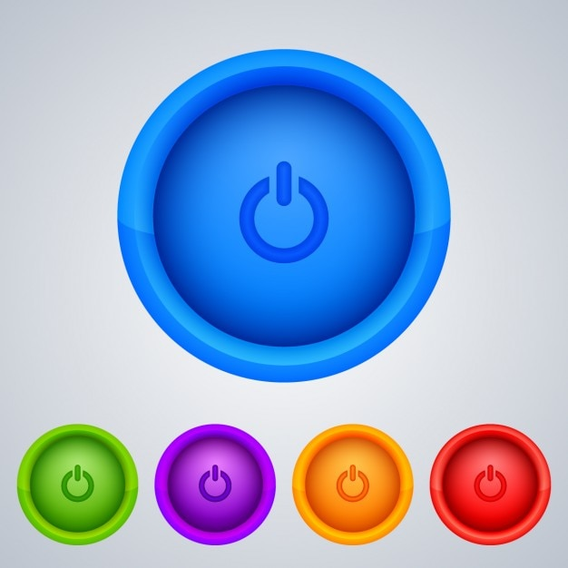 Colored power buttons Free Vector