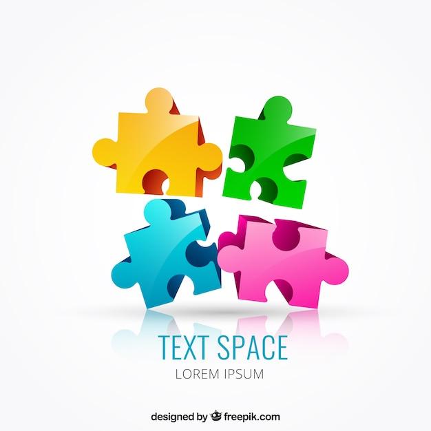 Colored puzzle pieces Premium Vector