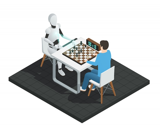 Colored realistic artificial intelligence isometric composition robot playing chess with a man illustration Free Vector
