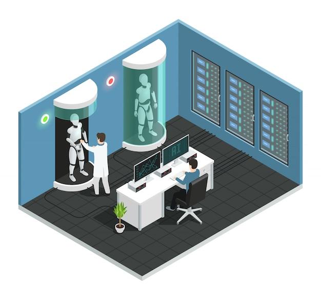 Цветной реалистичный искусственный интеллект изометрической композиции с научной лабораторией с ученым Бесплатные векторы