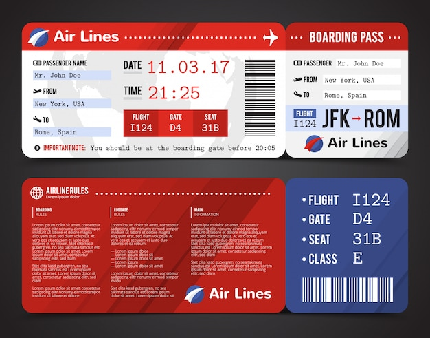 Colored and realistic boarding pass design composition with name of airline time and name on ticket Free Vector