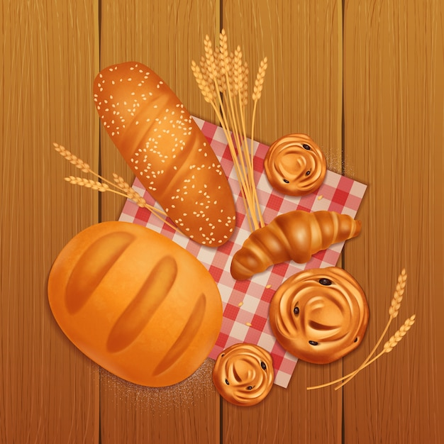 Colored realistic bread bakery composition with croissant bread and buns on wooden table Free Vector