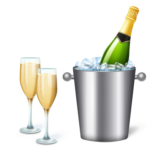 Colored realistic champagne bucket composition with cold champagne and two full glasses  illustration Free Vector