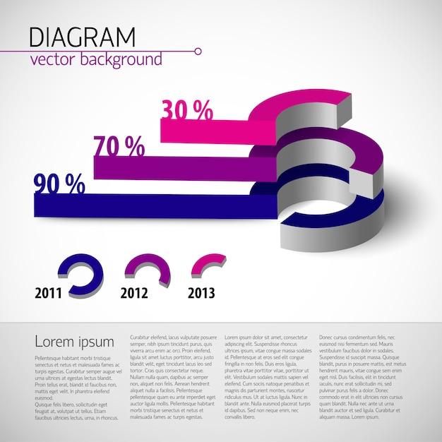 テキストフィールドと紫色のパーセンテージ比を持つ色付きのリアルな図テンプレート 無料ベクター