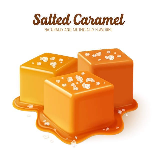 Colored and realistic salted caramel composition with naturally and artificially flavored headline Free Vector