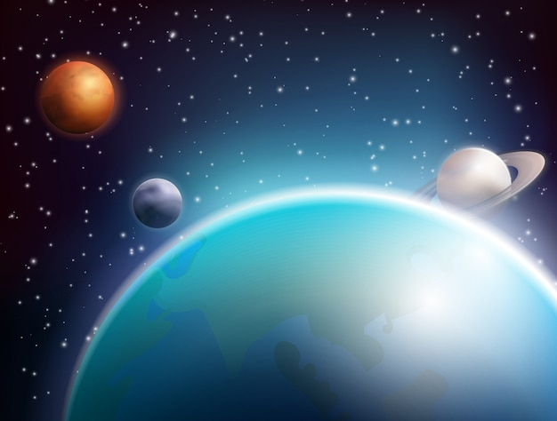Colored realistic space background Free Vector