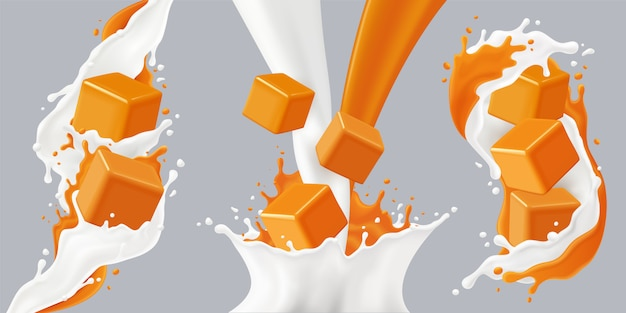 Colored realistic splashes caramel icon set with caramel cubes and milk splashes  illustration Free Vector