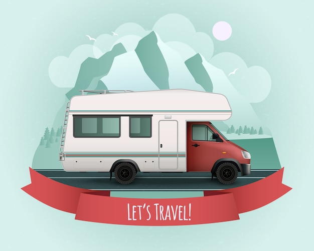 Colored recreational vehicle poster with red ribbon and let s travel description Free Vector