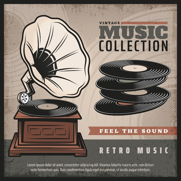 Colored retro gramophone poster with turntable or phonograph and vinyl records in vintage style Premium Vector