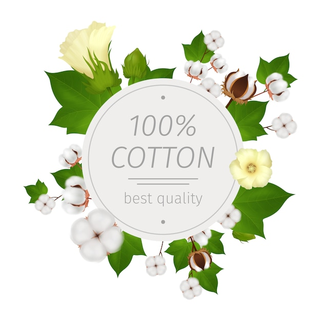 Colored round cotton realistic composition or emblem with flowers of cotton around and best quality headline at the center Free Vector