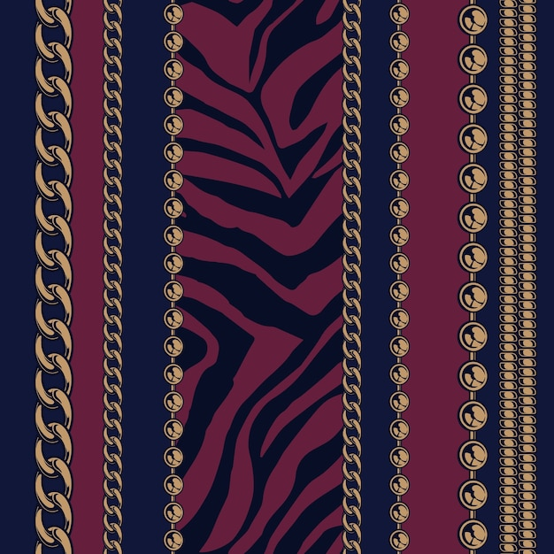 Colored seamless pattern of chains and animal prints with a dark background for factory . all items are in groups. easy to change color. Premium Vector