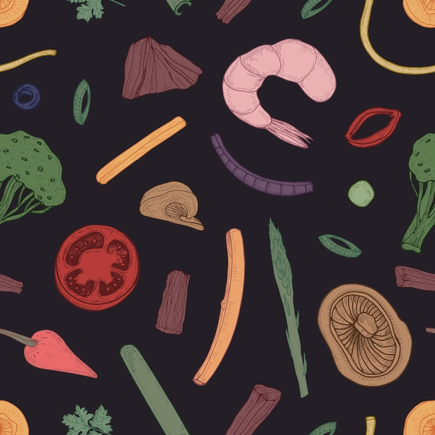 Colored seamless pattern with food pieces Premium Vector
