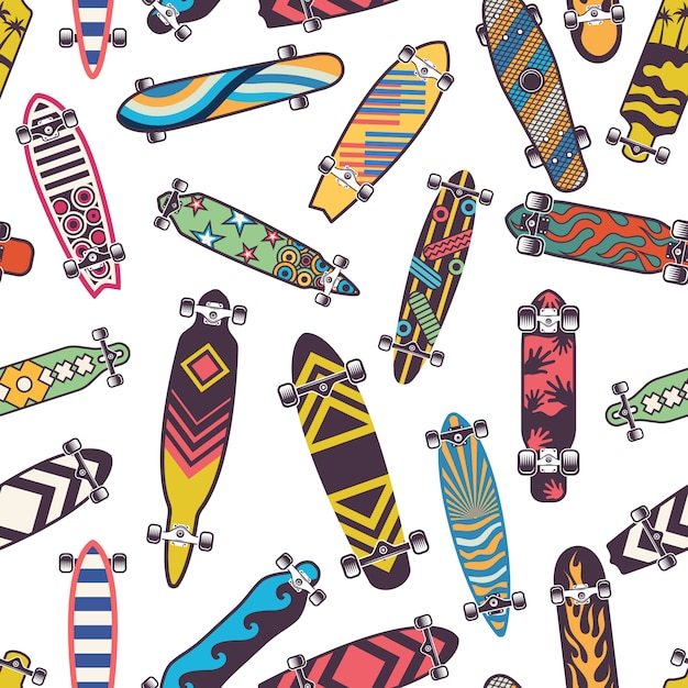 Colored seamless pattern with various skateboards. skate board for skateboarding Premium Vector