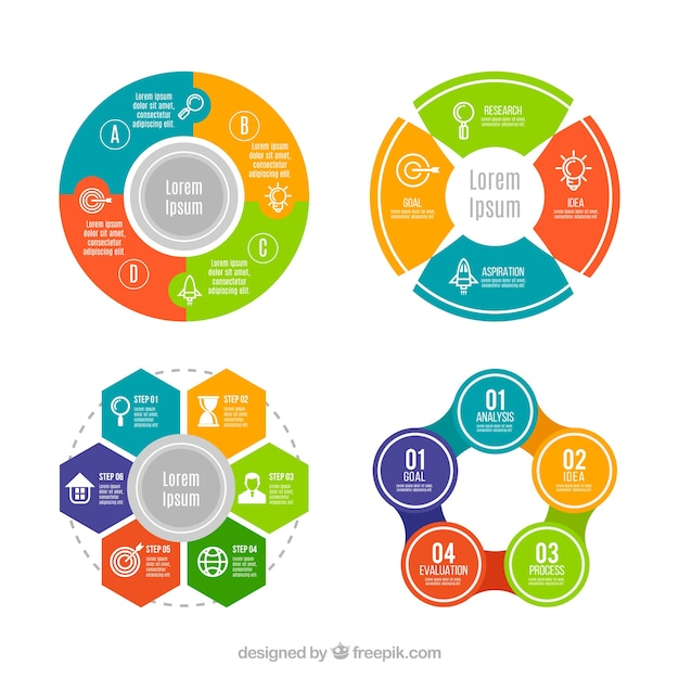 Colored set of circular infographics Free Vector