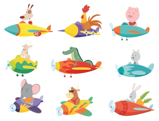 Colored set of kids transport with cute little animals flying on planes. Premium Vector