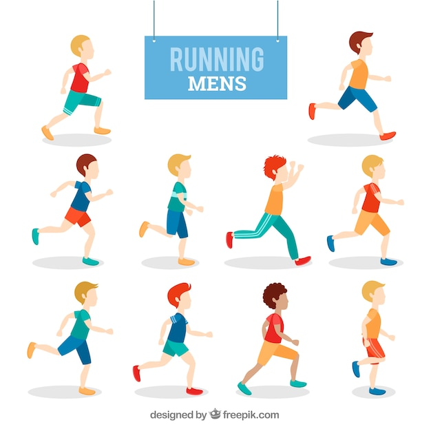 Colored set of men running