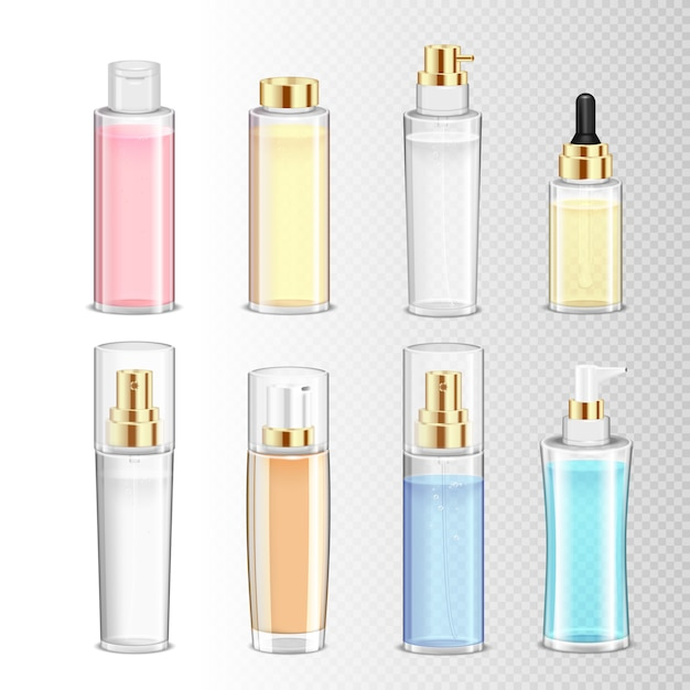 Colored set of realistic cosmetics bottles for cream perfume and liquid on transparent background isolated  illustration Free Vector