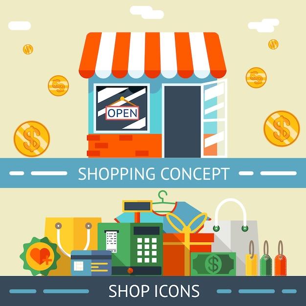 明るい黄色の背景に色付きのショッピングコンセプトとアイコンのグラフィックデザイン。 無料ベクター