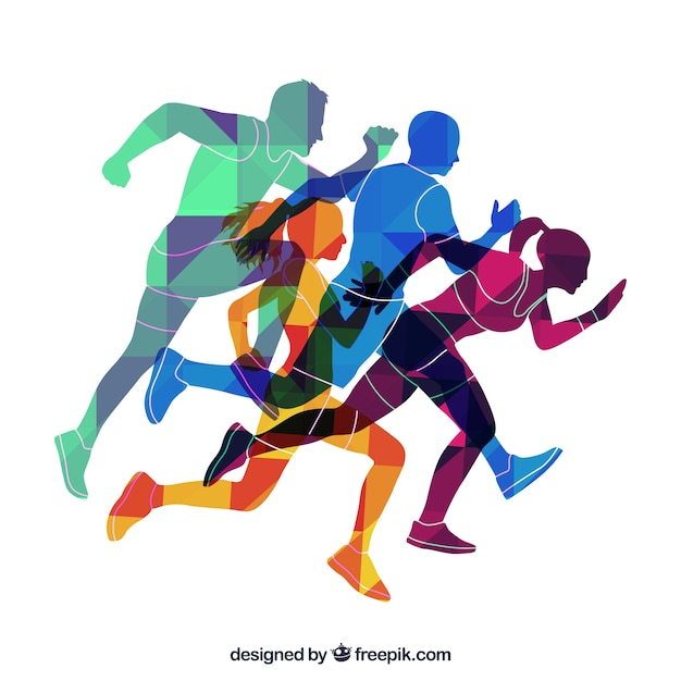 Colored silhouettes of runners Free Vector