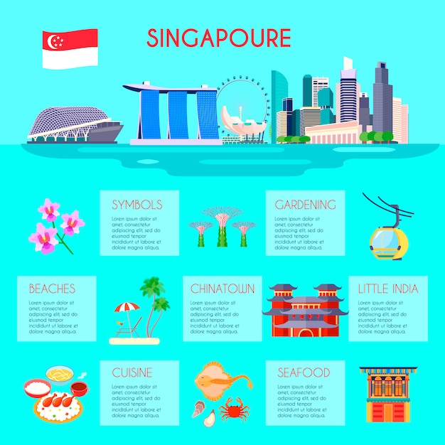 Colored singapore culture infographic with beaches gardening little india cuisine Free Vector