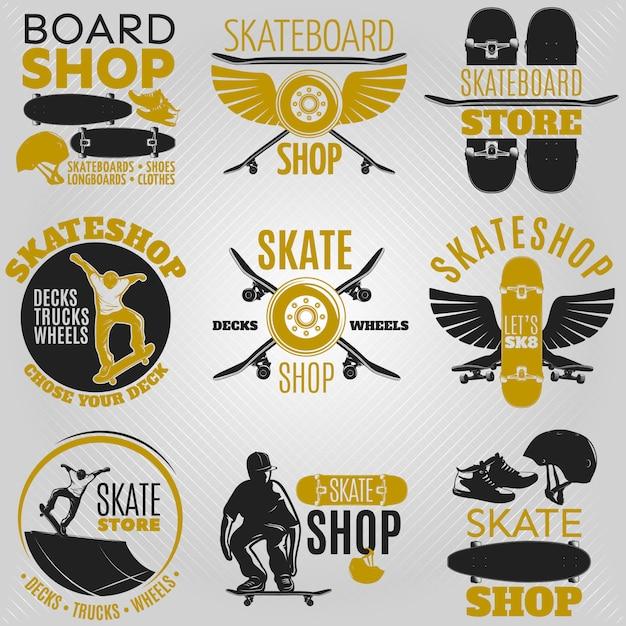 色付きのスケートボードのエンブレムセットボードショップスケートボードショップスケートショップベクトル図でさまざまな形に設定 無料ベクター