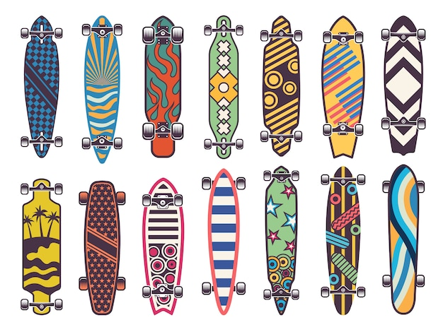 Colored skateboards set Premium Vector