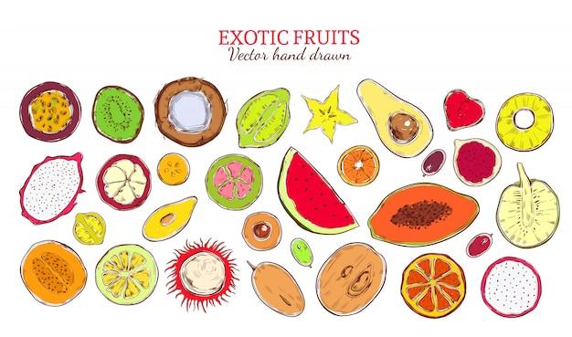 Цветной эскиз коллекции натуральных экзотических продуктов Бесплатные векторы
