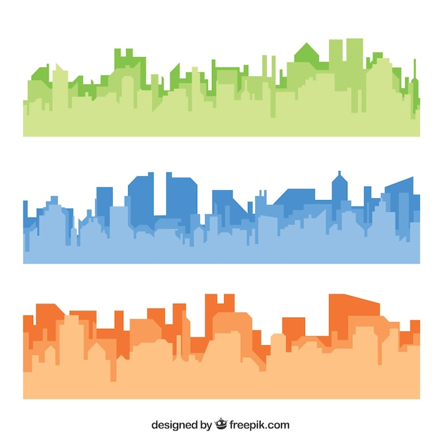 Colored skylines Free Vector