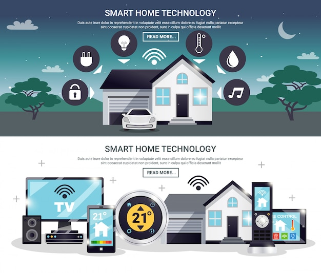 Colored smart home banner set Free Vector