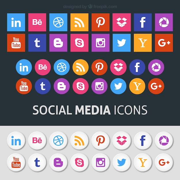 Colored social media icons Free Vector