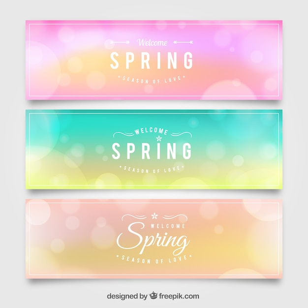 Colored spring banners with bokeh effect