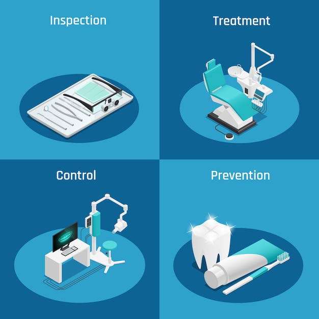 Colored stomatology dentistry isometric icon set with inspection treatment control and prevention descriptions vector illustration Free Vector