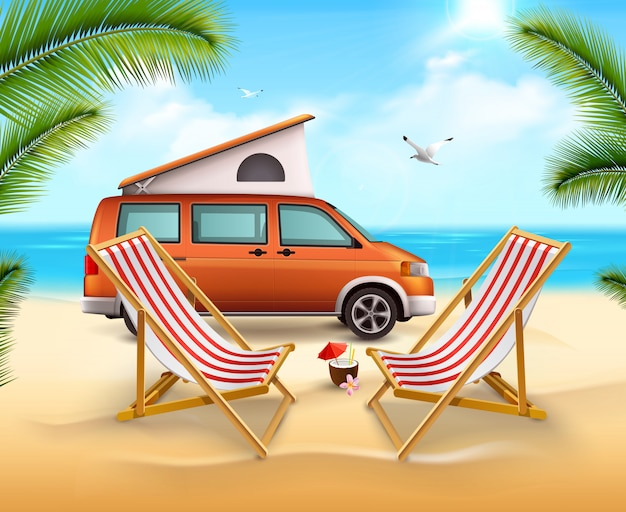 Colored summer camping poster with realistic vehicle on the sunny beach close to ocean Free Vector